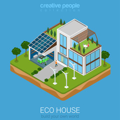 Flat vector isometric green eco friendly house: sun battery wind