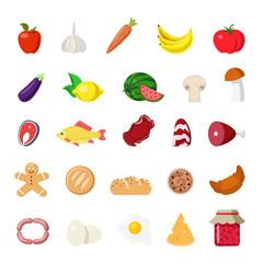 Flat vector food website app icons: vegetable fruit fish meat
