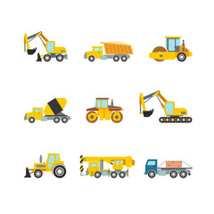 Construction wheeled vector flat web app icons: bulldozer grader