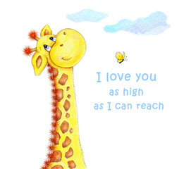 Cute Giraffe-I love you as high as I can reach