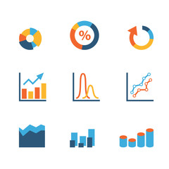 Data stats graphic chart diagram statistics website vector icons