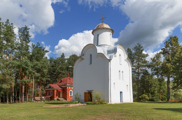 Ancient Russian Orthodox church in Peryn Chapel in the neighborhood Veliky Novgorod on a summer day