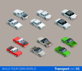 Flat 3d isometric city transport vector icon:. car pickup sedan