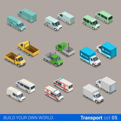 Flat vector 3d freight cargo transport: car truck van ambulance
