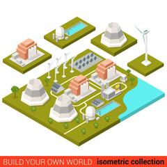 Power alternative energy plant flat 3d isometric vector building