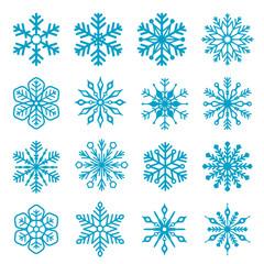 Snowflake isolated decoration vector icon set 03