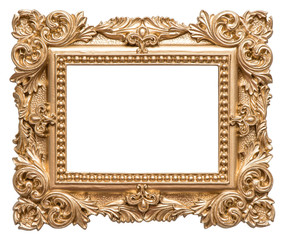 Golden picture frame baroque style. Vintage art object