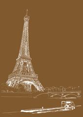 Eiffel tower, Paris, France. Vector illustration