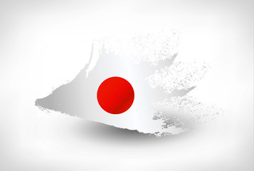 Brush painted flag of Japan