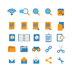 Flat vector mobile web app interface icon: wi-fi zoom cut link