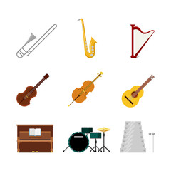 Flat vector classic music instruments web app icon: drum cello