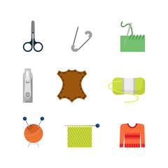 Flat vector creative tailor shop web app icon: knitting needles