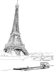 Eiffel tower, Paris, France. Vector illustration