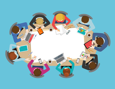 Office table top view business meeting flat vector infographic