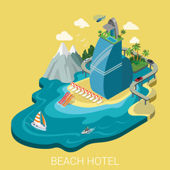 Flat isometric vector beach hotel infographics travel vacation