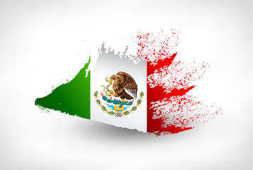 Brush painted flag of Mexico