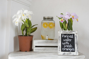 Orchids and orange water decoration