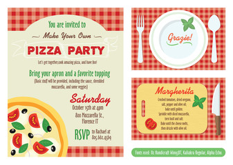 Vector Make Your Own Pizza Party Invitation Set. Recipe Card