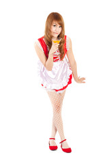 Cosplay of Maid drink Orange juice glass on white backgound.