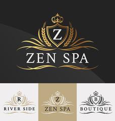 Premium Royal Crest Logo Design. Suitable for Spa, beauty Center, Real Estate, Hotel, Resort, House logo Vector illustration