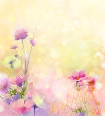 Oil painting nature grass flowers. Hand paint close up pink cosmos flower, pastel floral and shallow depth of field. Blurred nature background.Spring flowers background with bokeh