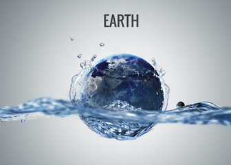 Fototapete - Solar system planet drops in to the water with splash. Elements