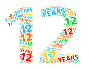 Colorful word cloud for celebrating a 12 year birthday or anniversary