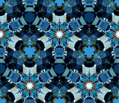 Blue kaleidoscope background. Seamless pattern composed of color abstract elements located on white background.