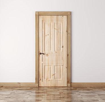 Natural pine wood door 3d render