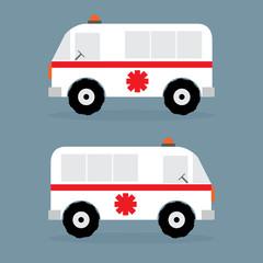 Ambulance car flat design. Vector lllustration,