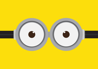 Vector illustration of goggle with two eye on yellow color