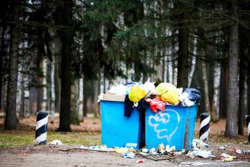 Saint-Petersburg, RUSSIA - NOVEMBER 24: Garbage dump near the road on November 24, 2014, in Saint-Petersburg, Russia