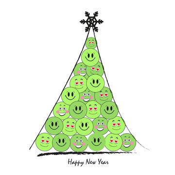 Happy new year tree with funny green smiley vector greeting card