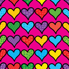 Seamless vector background with decorative hearts and polka dots
