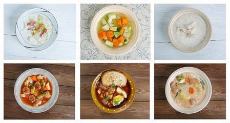 set of different traditional soups.