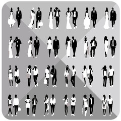 Black silhouettes of couples,woman,man