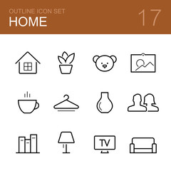 Home vector outline icon set - house, plant, toy, picture, coffee, hanger, vase, family, bookshelf, lamp, tv and sofa