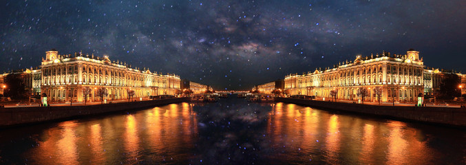 night landscape in St. Petersburg Russia