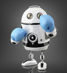 Robot with blue boxing gloves. Isolated. Contains clipping path.