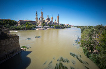 El Pilar basilica by the Ebro River, wide angle