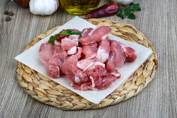 Diced pork meat