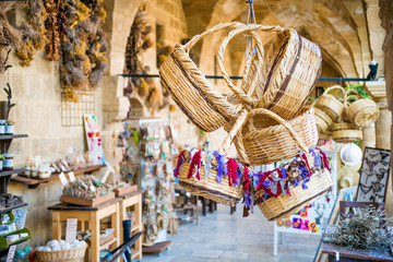 Keuken foto achterwand Cyprus Straw basket souvenirs at Buyuk Han (The Great Inn).