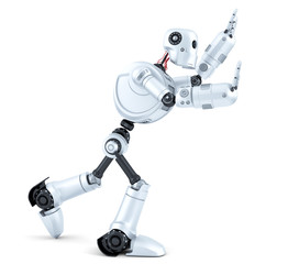 3d Robot pushing an invisible object. Isolated. Contains clipping path