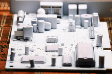 Microelectronics, white background chips concept
