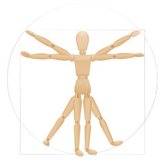 Vitruvian mannequin - sacred geometry in graphic art and anatomical proportions represented by a wooden lay figure. Illustration over white background.