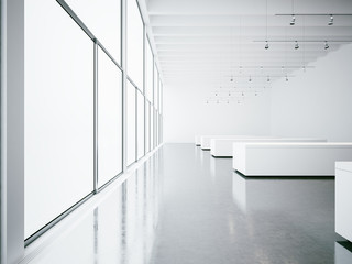Empty white gallery interior and big windows. 3d render