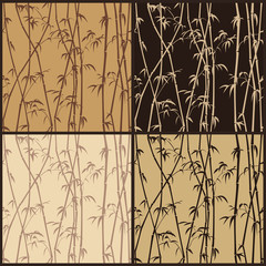 Four seamless bamboo texture in shades of brown