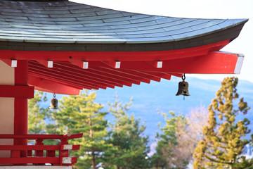 Japanese Pagoda roof and landscape from chureito pagada at Kawag