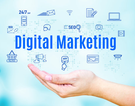 Open hand with Digital Marketing word and feature icon,Internet