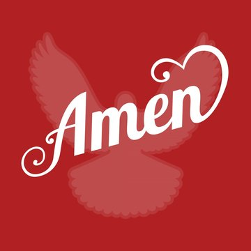 vector typography letter amen and pigeon sign of holy spirit ,flat design